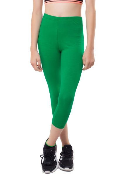 3/4 Leggins Kinder Leggings Baumwolle 146 grasgrün