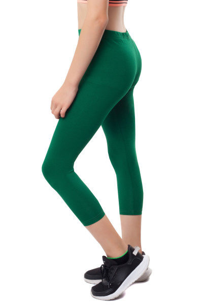 3/4 Leggins Kinder Leggings Baumwolle 140 grün